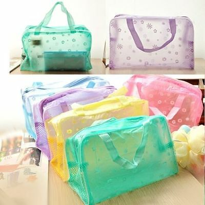 Clear Make-up Floral Cosmetic Toiletry Waterproof Pouch Bag Holder Bath Travel