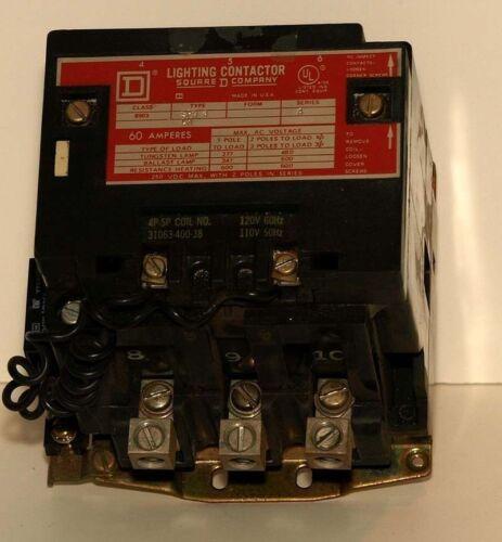 SQUARE D LIGHTING CONTACTOR #8903-SPO4 SERIES A 60 AMP  3 POLE