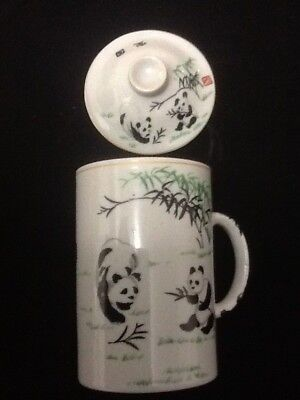 One Chinese Porcelain Tea Cup Handled Infuser Strainer Lid 10 oz Cups Gift 1 pc