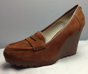 ade263fdce95 Image is loading MICHAEL-MICHAEL-KORS-RORY-LOAFER-WEDGE-IN-WALNUT-