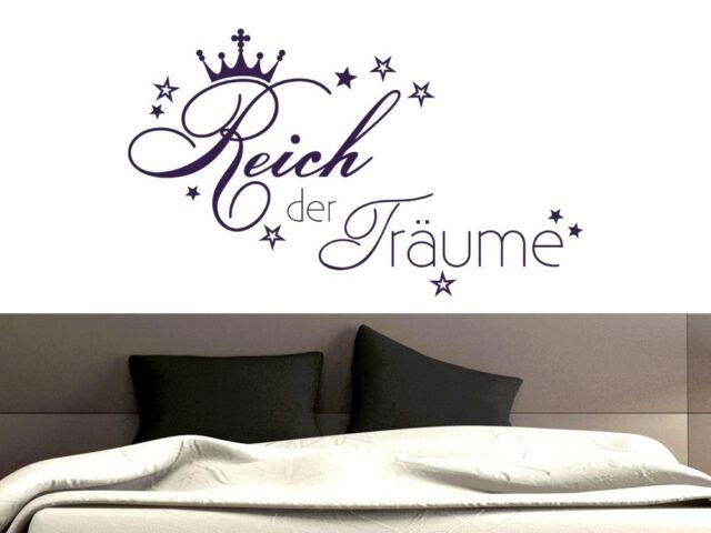 Wandtattoo Wandaufkleber für Schlafzimmer Spruch Reich der Träume Stern Krone