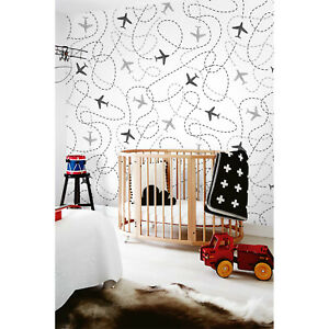 Non-Woven-wallpaper-traditional-Kids-Nursery-Baby-Airplanes-pattern-White-Mural