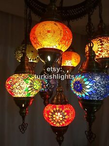 9 ball sultan turkish mosaic chandelier ebay image is loading 9 ball sultan turkish mosaic chandelier aloadofball Images