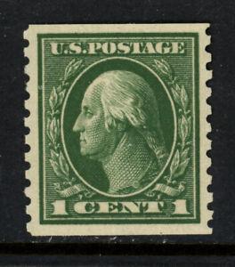 SCOTT 443 1914 1 CENT WASHINGTON REGULAR ISSUE COIL SINGLE MNH OG VF CAT $65!