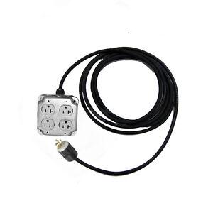 15ft Quad Box Power Cable 4 Outlet Box 20amp Sideways Plug Ebay