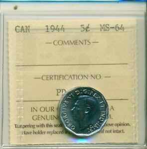 ICCS-Canada-1944-5-cents-MS-64-PD-369