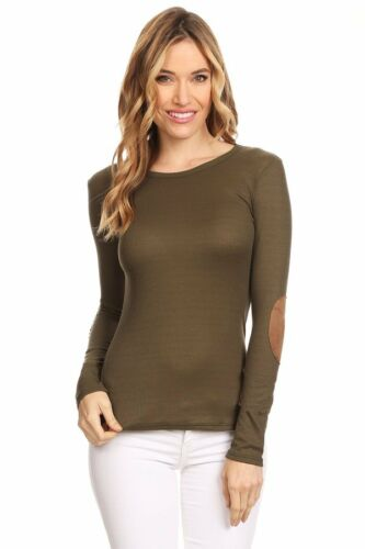 Casual Basic Thermal w// Faux Suede Elbow Patch Long Sleeve Lightweight Knit Top