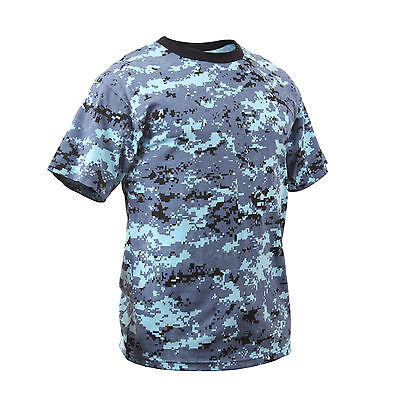 kids t-shirt digital sky blue camo youth rothco 5265 various sizes