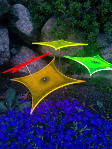"""4er Set /"""" RAUTEN /"""" Ø15cm Sonnenfänger Stab 100cm Sonnenscheiben Leuchtscheibe"""