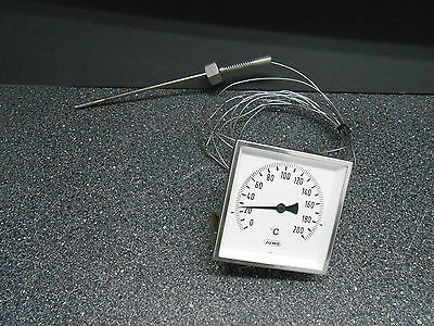 2B  0-200°C 96mm x 96mm JUMO DIAL THERMOMETER MODEL# 8201-24-96