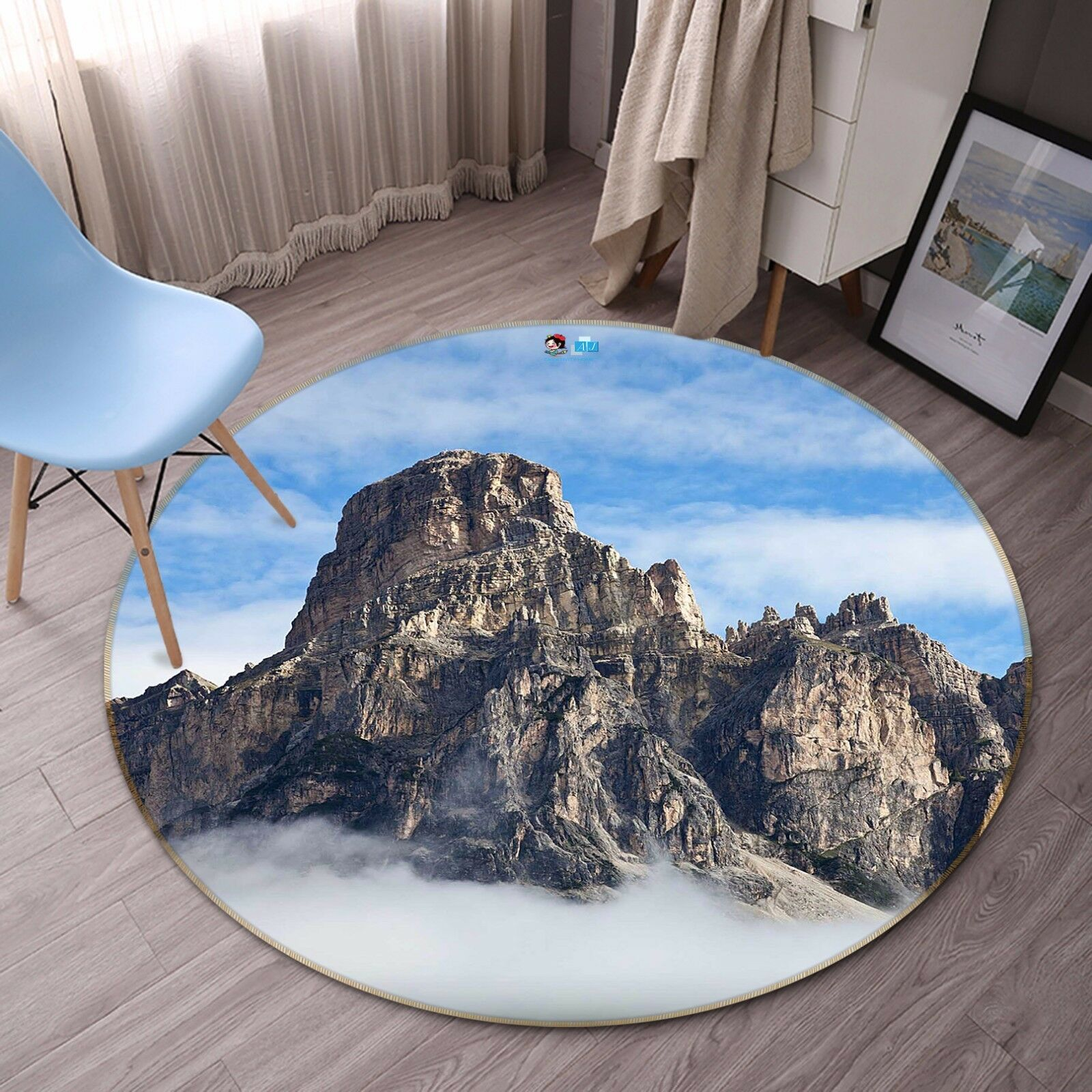 3D Cloud Mountain Peak 9 Non Slip Rug Mat Room Mat Round Elegant Photo Carpet CA