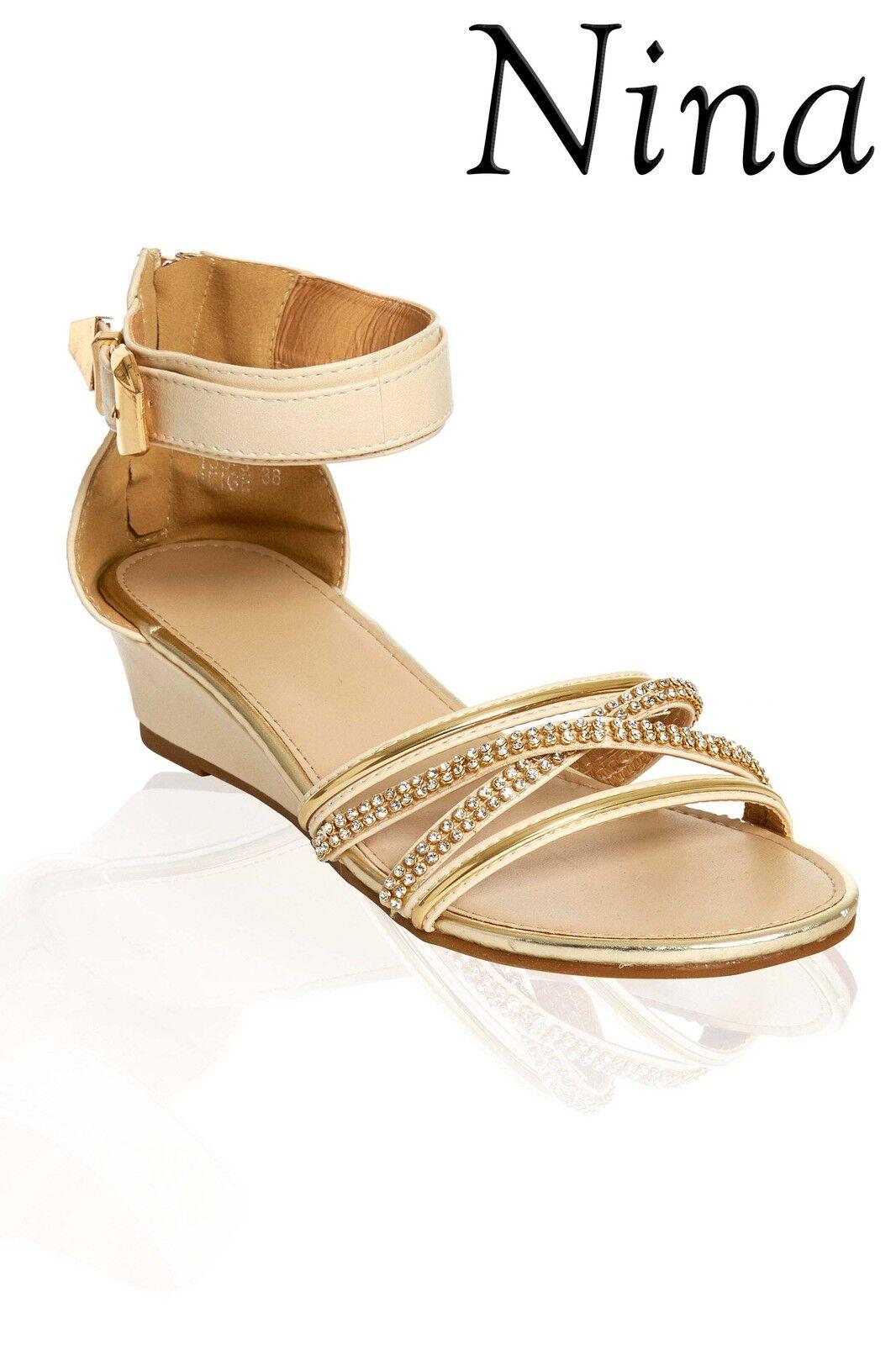 /Ladies sandals / Womens low heel sandals /Ladies shoes Zip Sandal Beige with Diamante trim a1cbc0