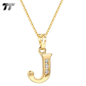 Tt 18k gold gp letter j pendant necklace with box chain np327j new image is loading tt 18k gold gp letter j pendant necklace aloadofball Images