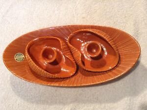 Vintage-Mid-Century-BC-Pottery-Candle-Holders-And-Tray-Herta-Gertz-MCM-Ceramics