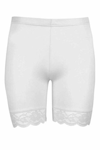 Womens Ladies Scallop Lace Trim Jersey Gym Bike Cycle Hot Pants Tights Shorts