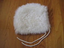 Hanna Andersson white faux fur PILOT CAP baby girl hat XS holiday christmas top