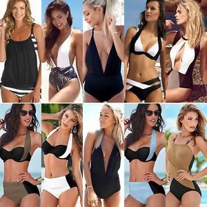 Women-Swimwear-Tankini-Bandage-Padded-Push-Up-Bikini-Set-Summer-Bathing-Monokini