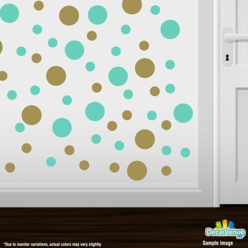 Mint Green Polka Dot Circles Wall Decals Metallic Gold