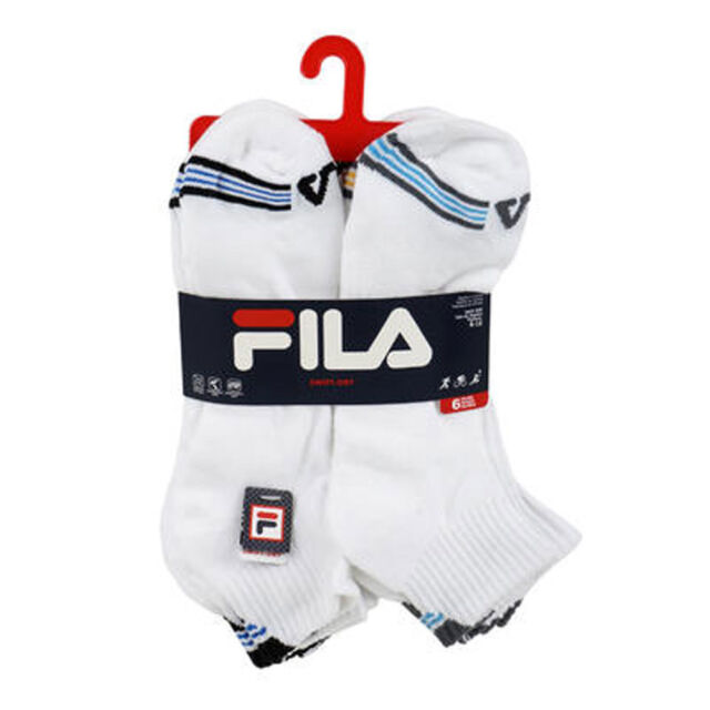 ba2e7cdbe9ef 6 Pair FILA Swift Dry Sport Men s White Quarter Socks Shoe Size 6-12    43fl115 for sale online