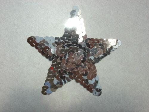 Silver  star SEQUIN  3.5 INCH APPLIQUE 10 pieces
