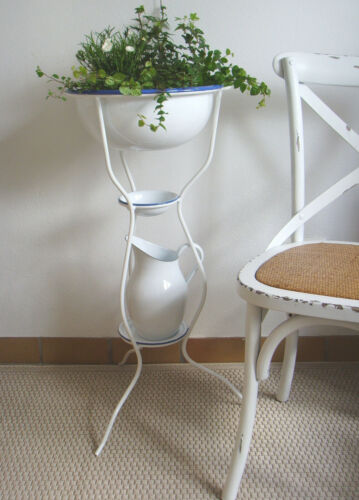 Set Emaille Waschset Waschgarnitur mit Ständer Waschschüssel /& Waschkrug 5-tlg