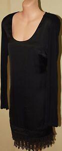 Womens-Gorgeous-Black-Dress-with-Crochet-Hem-Charlie-Brown-Size-8