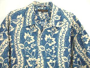 Tommy-Hilfiger-XL-Cotton-Linen-Blend-Blue-Floral-Aloha-Camp-Hawaiian-Shirt