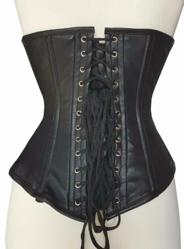Black Pure Real Leather Steel Bones Lace up Under Bust Corset 2XS~7XL