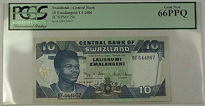 1.4.2006 Swaziland Central Bank 10 Emalangeni Note Scwpm#29c Pcgs Gem New 66 Ppq