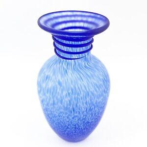 Vintage-Italian-Venetian-Cobalt-Blue-Confetti-Matte-Art-Glass-Applied-Swirl-Vase