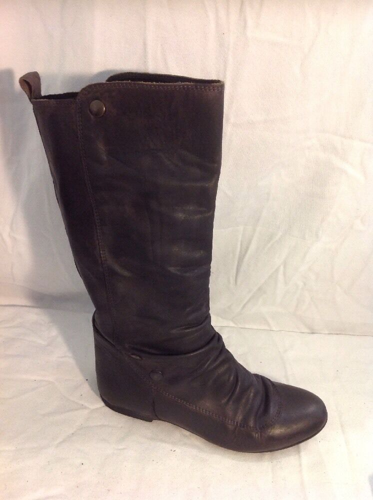 Ladies Black Mid Calf Leather Boots Size 35