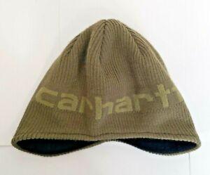 Boys-Carhartt-Child-Youth-Acrylic-Hat-Winter-Beanie-Knit-Cap-Army-Green-LOGO