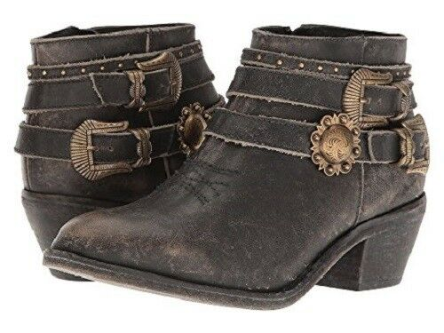 Circle G by Corral Women's Distressed Black Strap Shortie Ankle Boots P5101