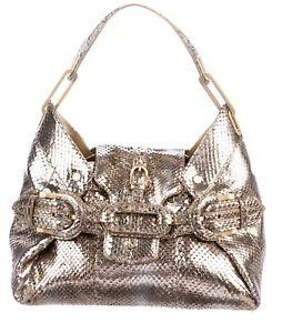 cf6ad3c4a07 Details about JIMMY CHOO Metallic Gold Python Tulita Bag Purse!