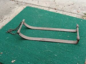 """Very old Antique """"HOME MADE"""" Snow Sled - Cast iron FOLK ART  - read & see all"""