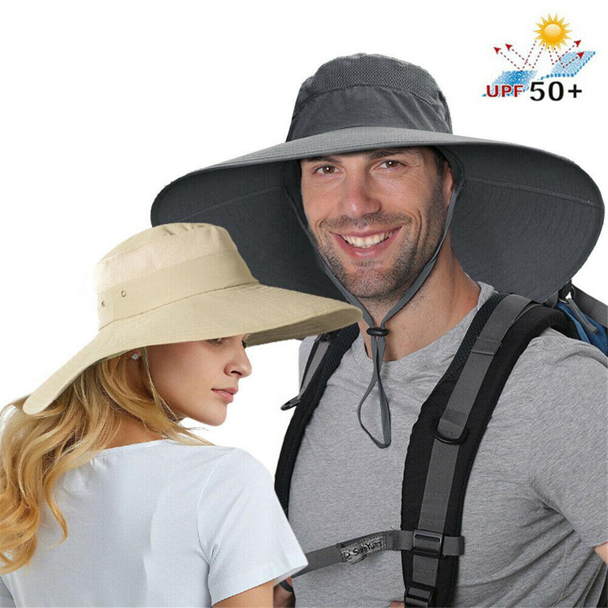 Herren Damen große breite Krempe Sonnenhut Fischerhut Wandern Angeln UV-Schutz