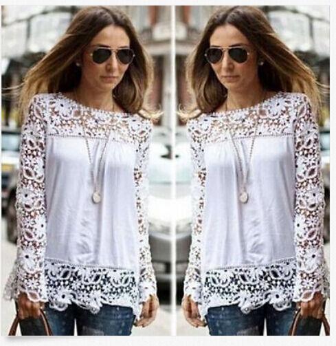 Fashion Women Sheer Sleeve Embroidery Lace Crochet Tee Chiffon