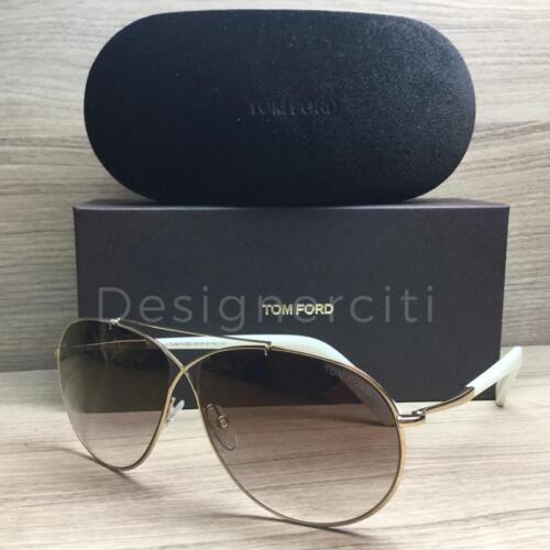Tom Ford Eva TF374 374 Sunglasses Gold White 28G Authentic 61mm