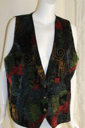 Vintage Wild Bill Made in California floral velvet waistcoat vest gold galloon trim