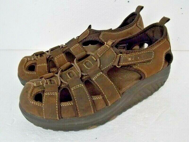 Skechers Shape-up Women's Walking Sandals Chocolate Brown Leather SN 11805 EUC