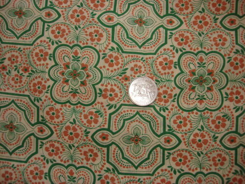 Vintage Cotton Blend Fabric BROWN AND GREEN FLORAL /& MEDALLIONS ON TAN  1 Yd