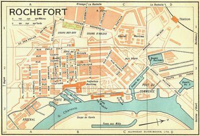 Rochefort 1932 Old Vintage Map Plan Chart To Make One Feel At Ease And Energetic Maps, Atlases & Globes France