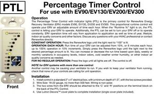 Renewaire Ptl Adjust Run Timer Use With Ev90 Ev130