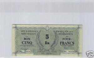 Aggressiv Neue Hebrides 5 Franken Nd (1943-44) 40 000 Exemplare Pick 1 Selten