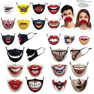 Designer Biting Lip Reusable Face/Mouth Mask Covering Washable - Social Mask
