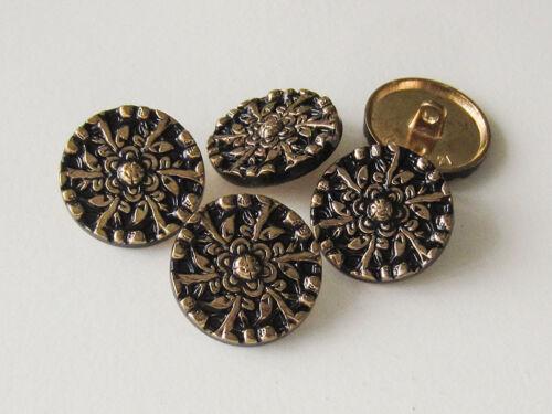 5 exklusive schwarz goldene Metallknöpfe mit floralem Muster 1528gs