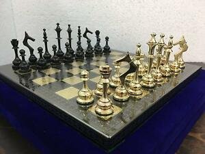 Collectible Full Brass Chess Game Board Set With 100 Brass Pieces