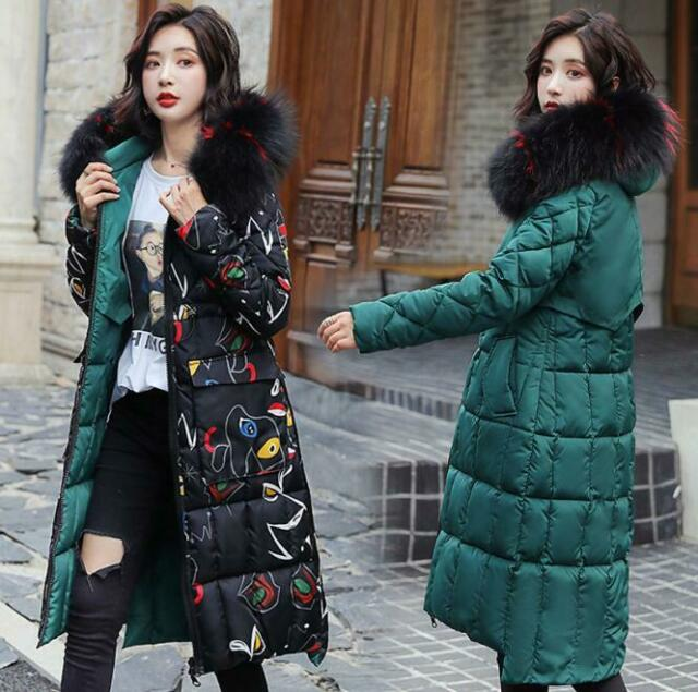 Womens Winter Fur Collar Down Coat Thick Long Cotton Parka Hooded Warm Jacket