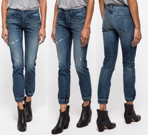 Neuf avec étiquettes 295  3X1 Coupe droite élastique poignets effet vieilli De SurvêteHommest Jeans