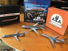 POLISHED METAL  LOT OF 3 AIRCRAFT GEMINI,JC WG,INFLIGHT MD-80,DC-10 And Tu-154M